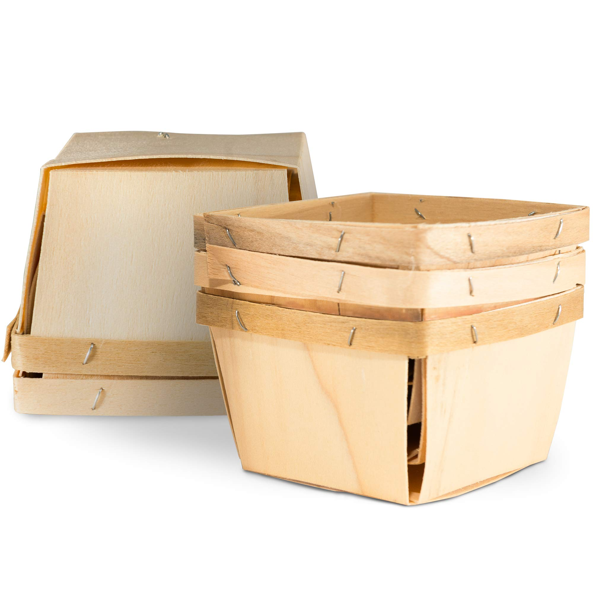 """One Pint Wooden Berry Baskets (5 Pack); for Picking Fruit or Arts, Crafts and Decor; 4"""" Square Vented Wood Boxes"""