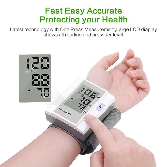 Tensiómetro Automático de Muñeca, Yevita Monitor de Presión Arterial y Frecuencia Cardiaca Digital con Memoria, Sensor Detector Preciso con LCD Pantalla, ...