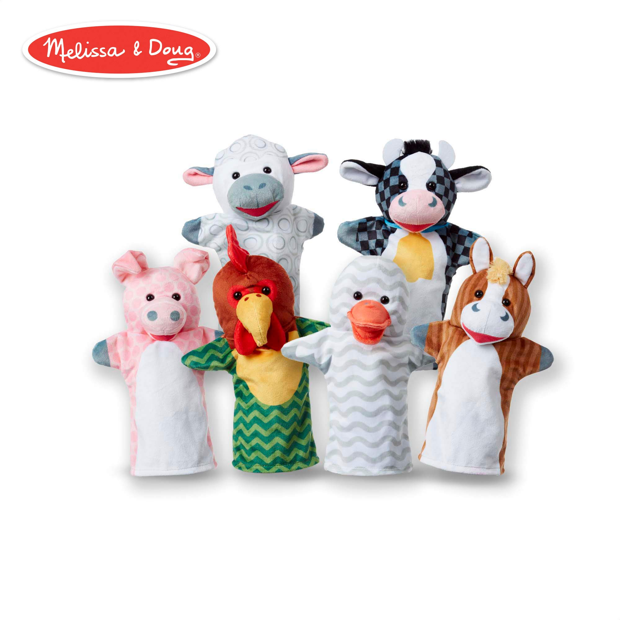 Melissa & Doug Barn Buddies Hand Puppets, Puppet Sets (Cow, Sheep, Horse, Duck, Chicken, Pig, Soft Plush Material, Set of 6)