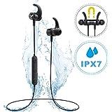 Mpow S10, Auriculares Bluetooth magnéticos IPX7 Deportivos Manos Libres Micrófono, V4.1 In-Ear Inalámbricos Running Deporte Correr Cancelación de Ruido CVC 6.0 para iPhone Android(Negro Nuevo)