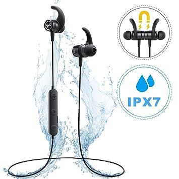 Mpow S10, Auriculares Bluetooth magnéticos IPX7 Deportivos Manos Libres Micrófono, V4.1 In-Ear Inalámbricos Running Deporte Correr Cancelación de Ruido CVC ...