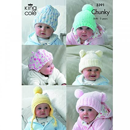 0ee78c598 King Cole 6 Baby Hats Comfort Chunky Knitting Pattern 3391 by King ...