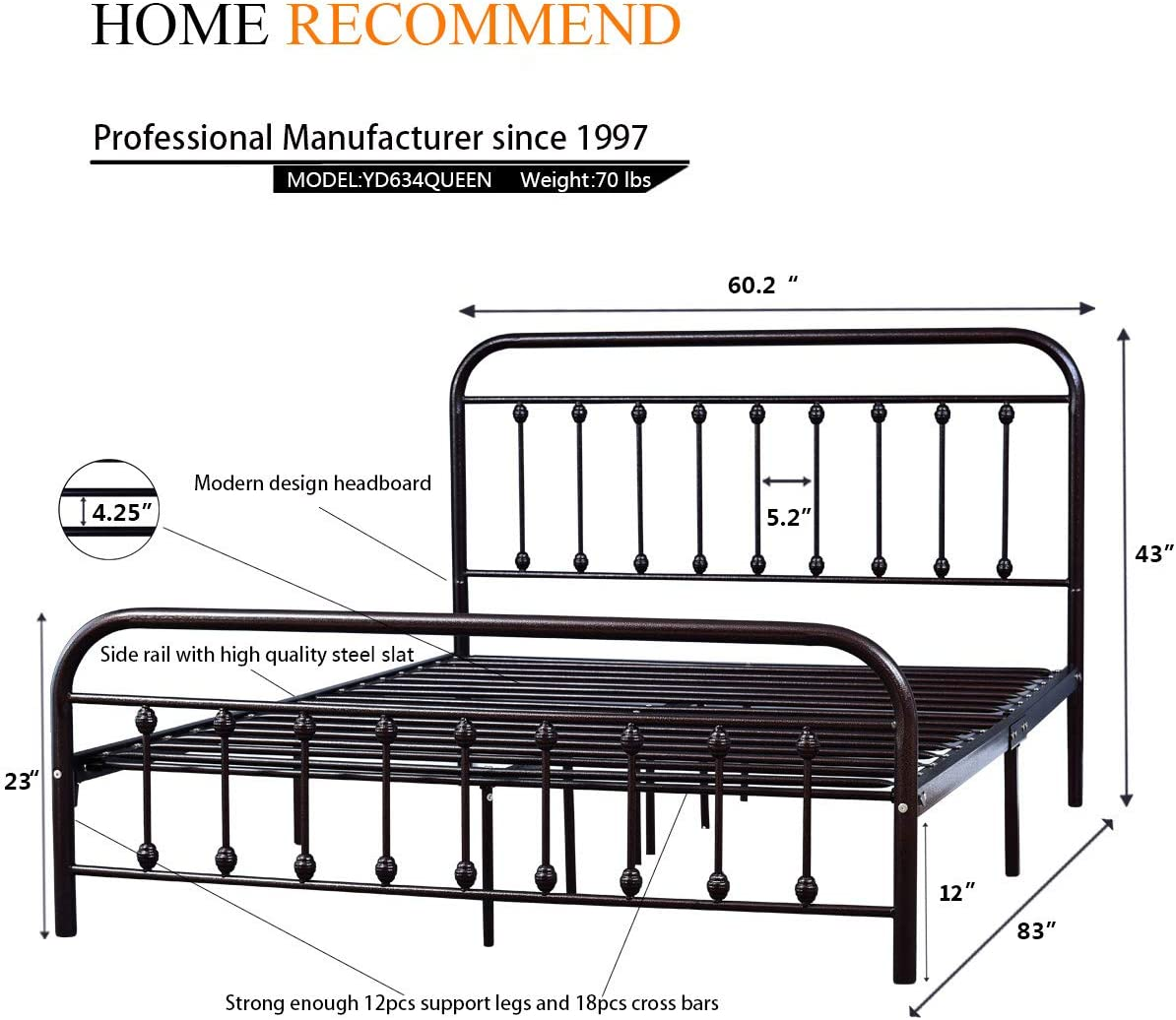 Metal Bed Frame Queen Size Steel Slats Platform Base Box Spring Replacement Foundation with Headboards Heavy Duty Steel Slats for Living Room Guest Room