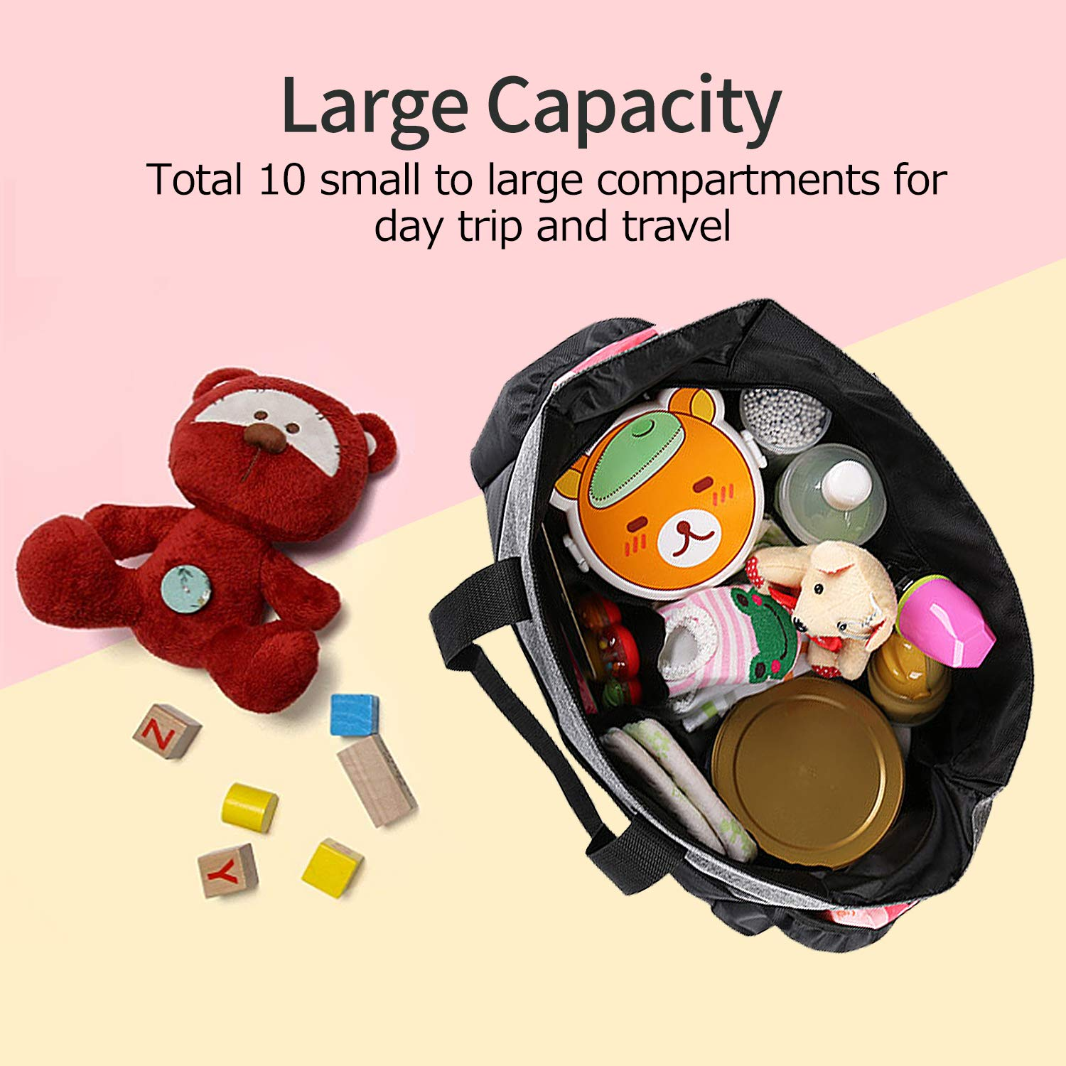 Redan Large Baby Bags Tote Organizer Insert Travel Nappy Bags Style with Shoulder Strap and 10 Pockets for Mom Stroller Boys and Girls Dad Diaper Bag Grey Black