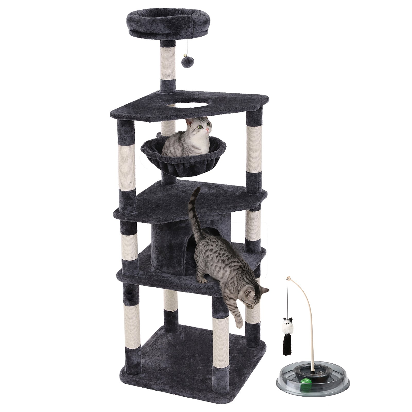 "SONGMICS 66"" Multi-Level Cat Tree with Cat Toys (Track Ball and Teaser Wand) Sisal-Covered Scratching Posts, Basket and Condo, cat tower for Kittens Smoky Gray UPCT66G"