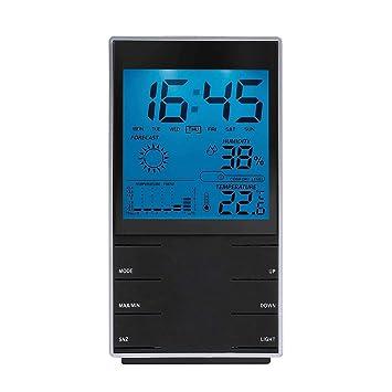 Estación meteorológica digital (con símbolos meteorológica interior termómetro higrómetro Reloj despertador (iluminación azul,