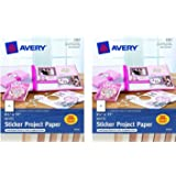 "Avery 03383 8-1/2"" X 11"" Ink Jet Sticker Project Paper 15 Count (Pack of 2)"