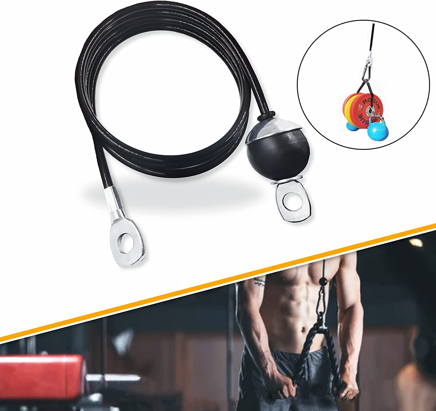 J Bryant Fitness Thick 6mm Loading 1100Lbs Heavy Duty Pulley Cable Replacement Fixed Length Steel Wire Rope Cable for Home Gym Cable Machine Workout Accessories