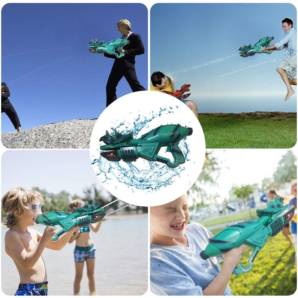 Ancaixin Dinosaur Water Gun Herrera & Triceratops Super Soaker Gun Set Summer Beach Pool Toys Big Squirt Blaster for Kids & Adults Red & Blue 2 Packs by Ancaixin (Image #1)