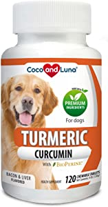 Turmeric for Dogs - Anti Inflammatory for Dogs - Curcumin and BioPerine, Antioxidant, Promotes Pet Mobility and Pain Relief, Ease Joint Pain and Swelling…