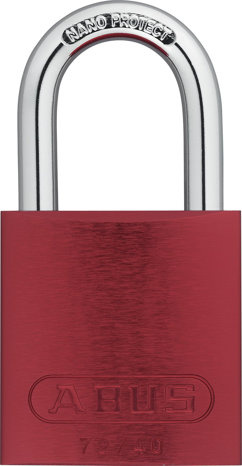 ABUS 72/40 KA Safety Lockout Aluminum Keyed Alike Padlock with 1-Inch shackle, Red