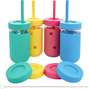 Elk and Friends Kids Cups/Toddler cups with Straws - Glass Mason Jars 12 oz with Silicone Sleeves & Straws + Straw & Leak Proof Regular Lids - Spill Proof, Sippy Cups for Toddlers