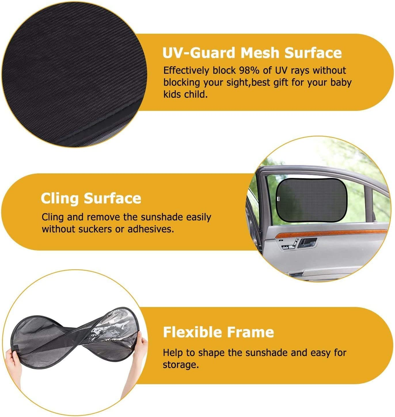 KUGEN Car Window Sun Shades 4 Pack Car Window Sun Shade for Baby Black Car Side Window Shield Cover Universal PVC Electrostatic Film Sun Shade Sticker for Glare and UV Rays Protection for Your Child