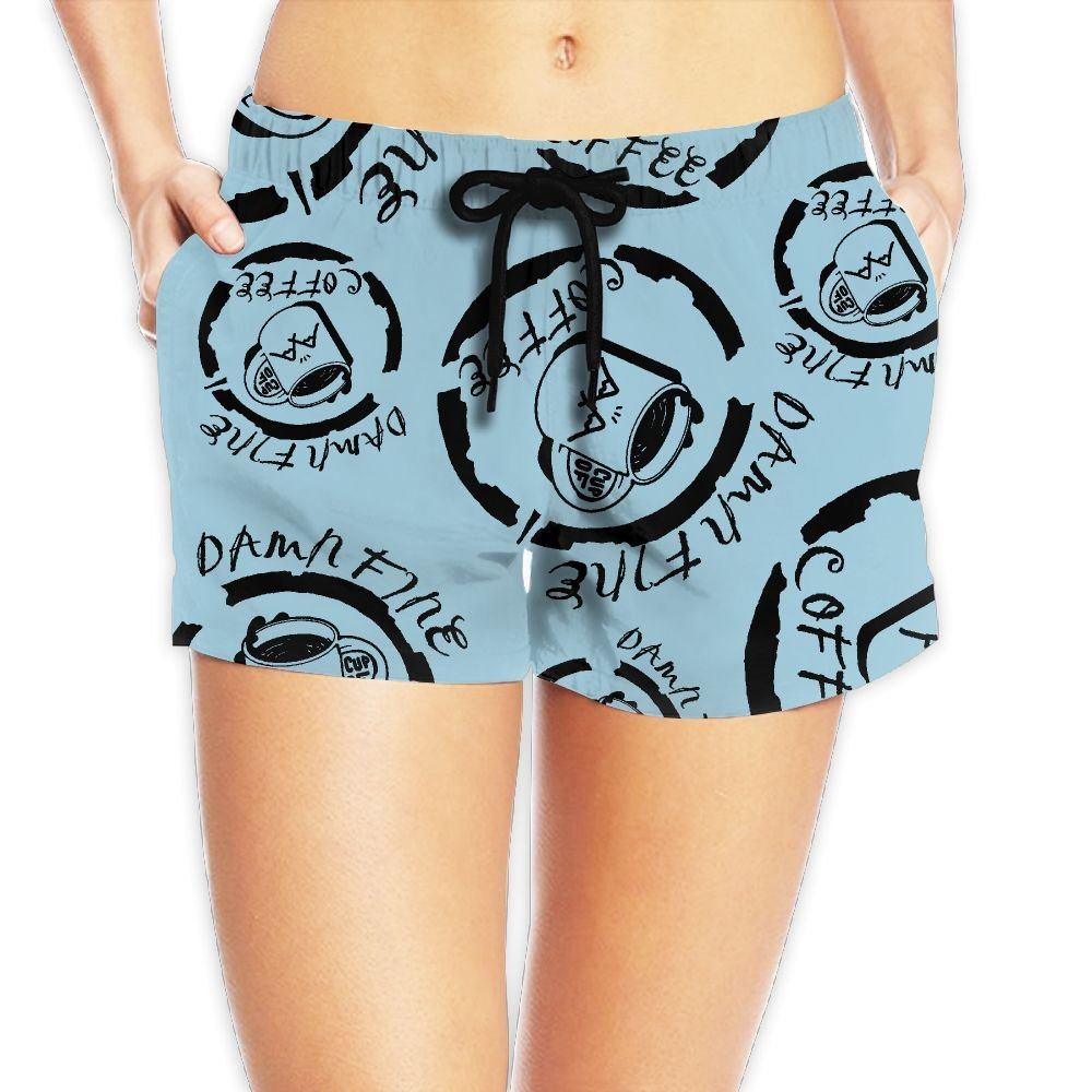 Damn Fine Cup Of Coffee Womens Quick Dry Beach Shorts Fashion Lightweight Surf Shorts With Pockets
