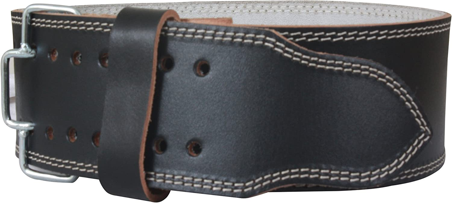 """Genuine Leather Weightlifting Belt with Advanced Rivets For Men /& Women TurnerMAX PowerBelt 10mm Thick 4/"""" Lumbar Back Support Premium Double Prong Powerlifting Belt"""