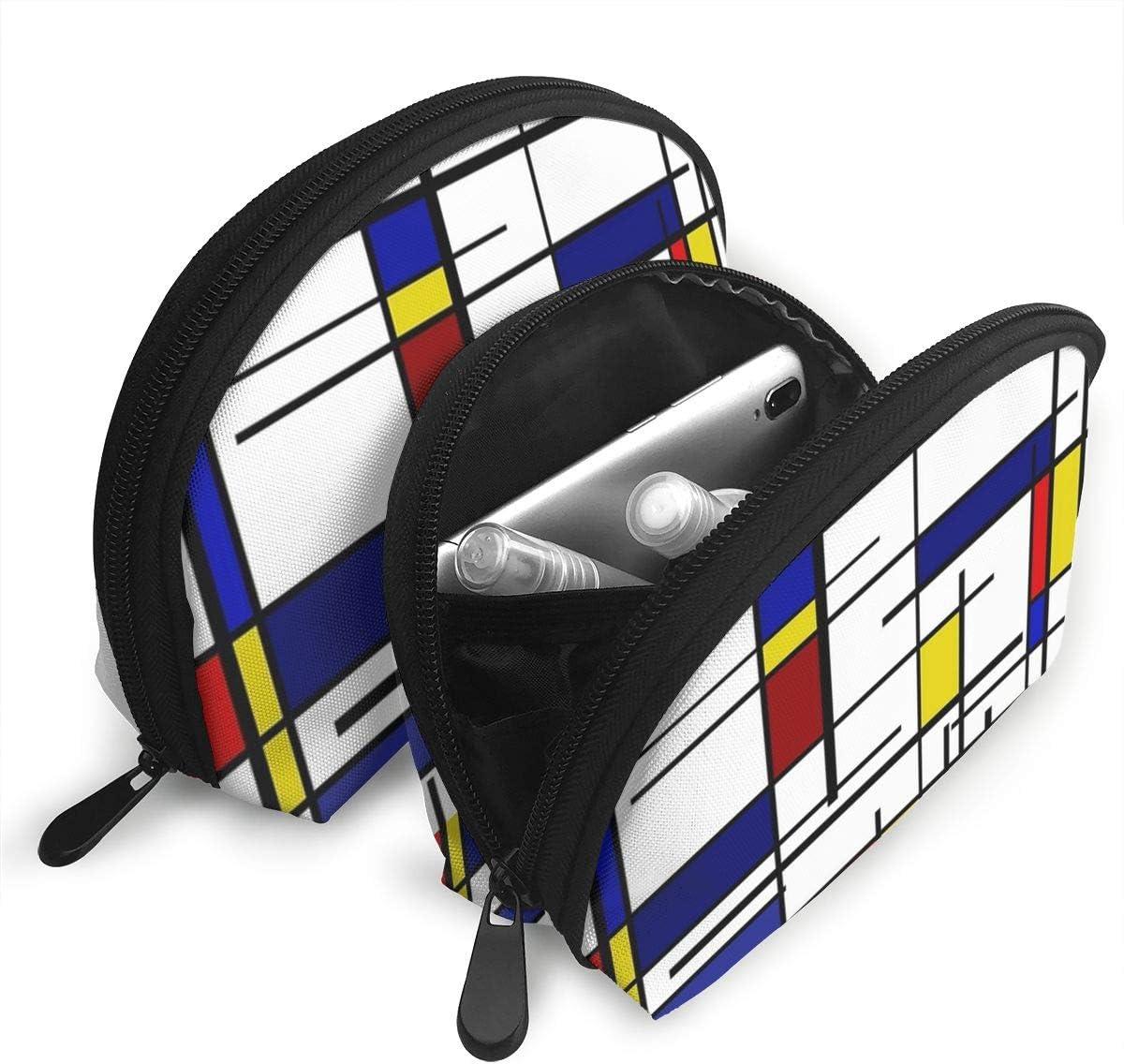 Bafrsc Personalized Mondrian Pattern Womens Shell Shape Carrying Case Organizer Bag Gift 2Pcs