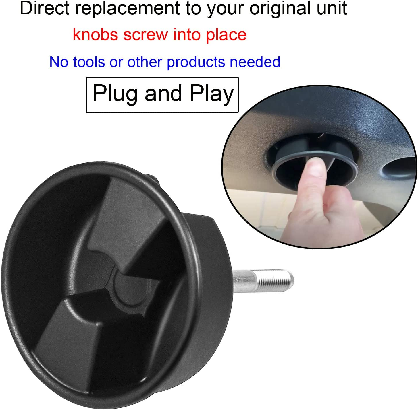 Hardtop Top Hard Panel Mounting Screw Knob 2pcs Compatible with Jeep Wrangler JK 2dr and Unlimited 4dr 2007-2019