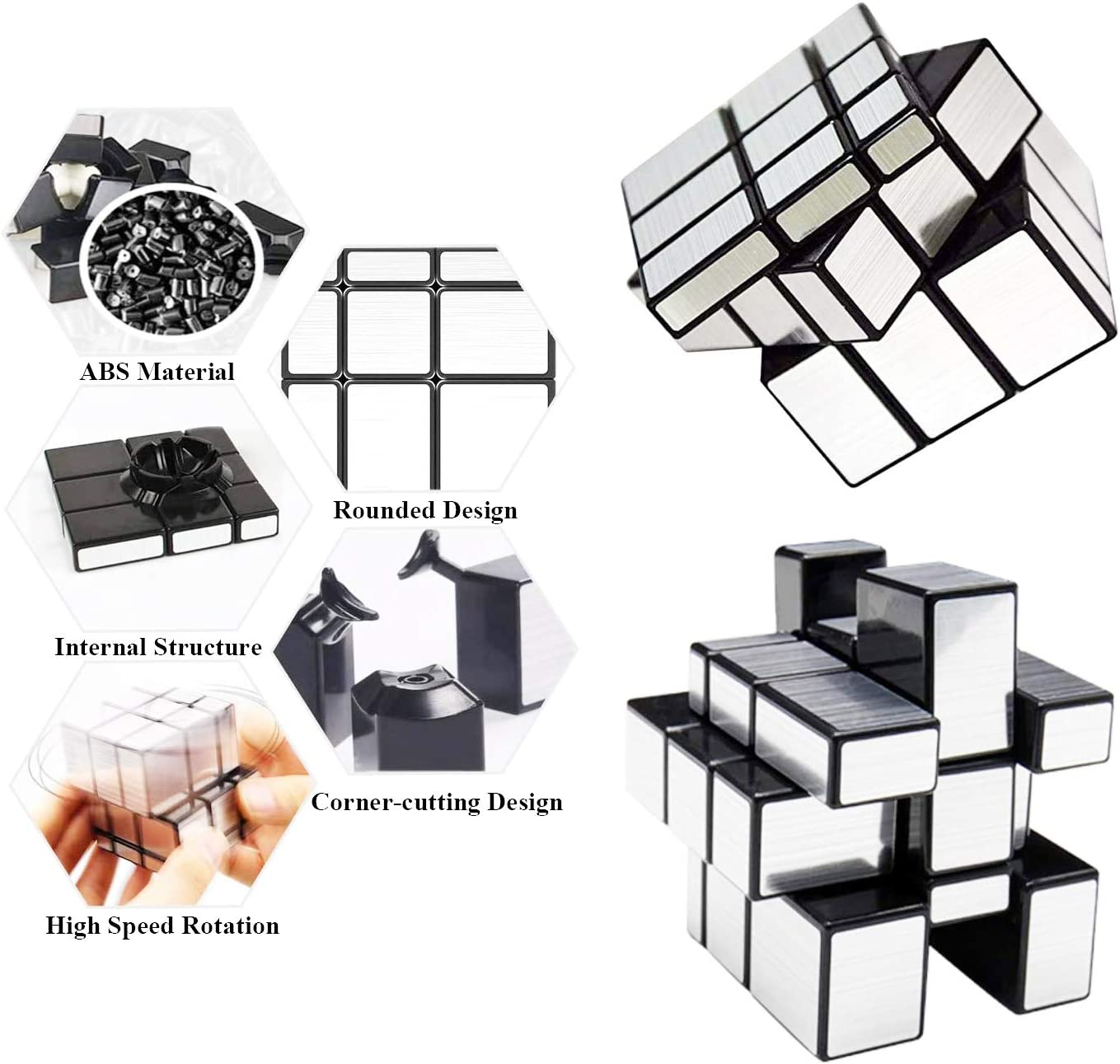Smooth Sticker Cube Game Toys Gift for Kids Teens /& Adults Vdealen Speed Cube Set Puzzle Cube Bundle 3x3 Pyraminx Silver 3x3 Mirror Megaminx Magic Cube 3 Pack