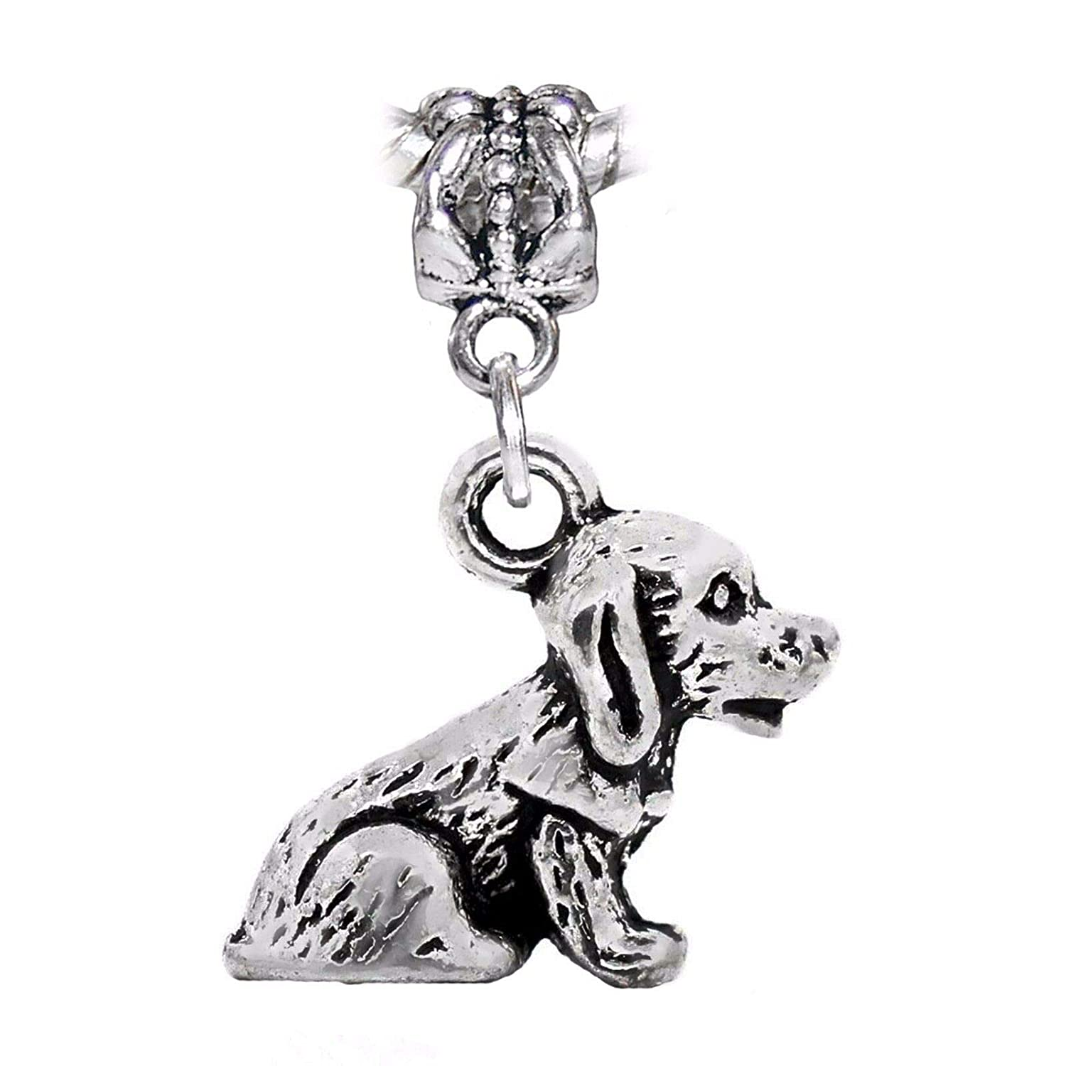 Dog Puppy Doggy Pet Animal 3D Dangle Charm for Silver European Bead Bracelets Fashion Jewelry for Women Man