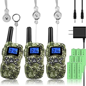 Wishouse Rechargeable Walkie Talkies for Kids with Charger Battery, Two Way Radio Family Talkabout for Adult Long Range, Outdoor Camping Hiking Fun Toy Birthday Gift for Girls Boys 3 Pack Camouflage