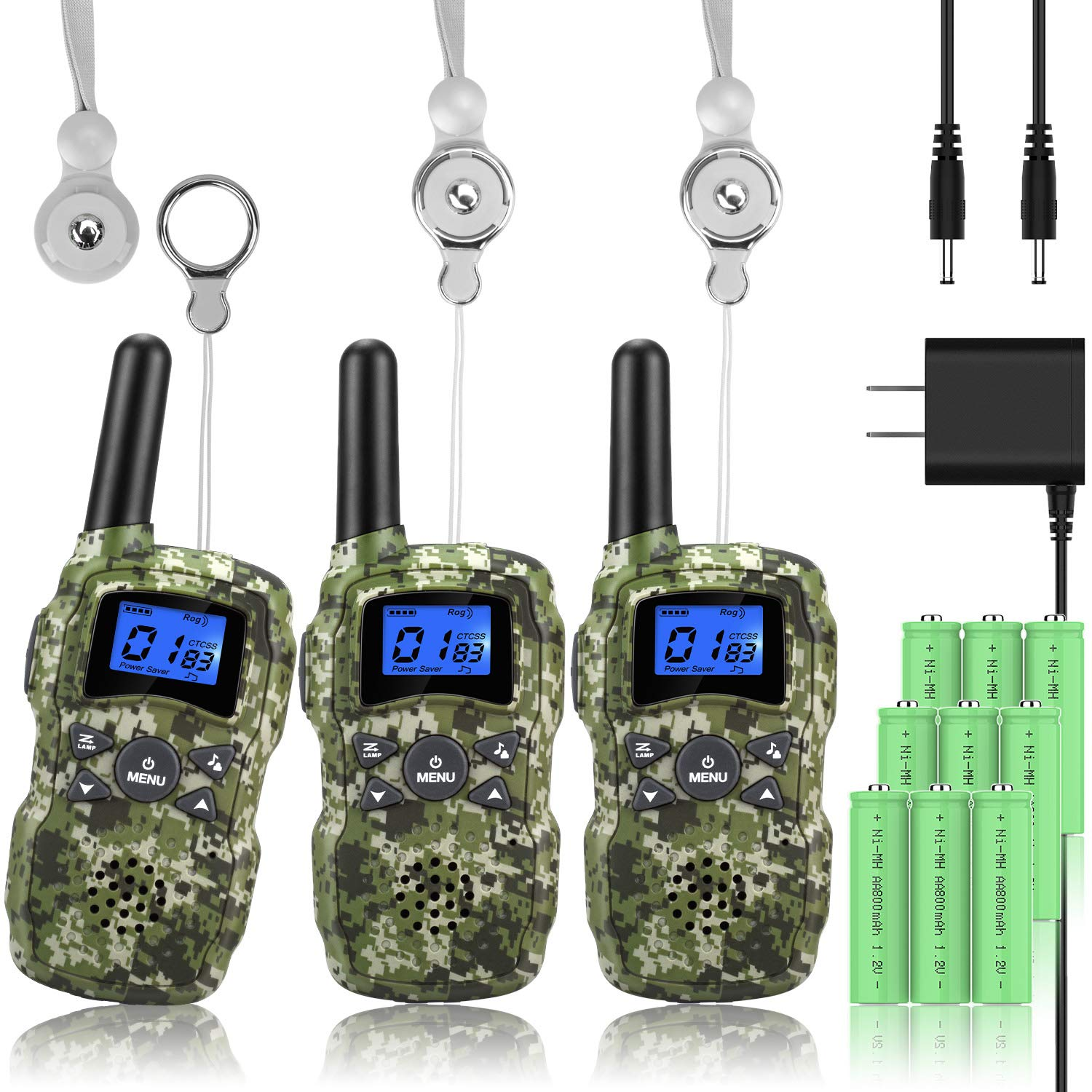 Wishouse 3 Walkie Talkies for Kids Rechargeable with Charger Battery,Family Two Way Radio Talkabout Walky Talky for Adults Long Range, Outdoor Fun Toy Birthday Gift for Girls Boys Teen Toddlers - Camo