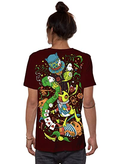 44743be3f93a7 Men's Exlusive Alice in Wonderland Psychedelic Top - Fine Print Cotton  T-Shirt