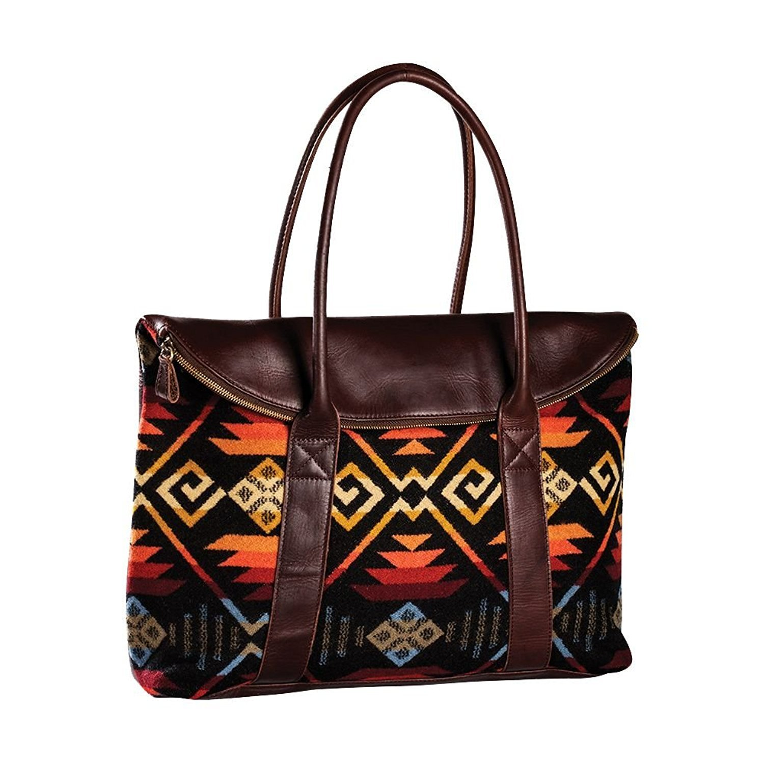 Pendleton Black Coyote Butte Leather Travel Tote | Carry All | Bag