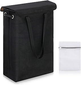 SAWAKE Slim Laundry Basket with Lid, Tall Thin Laundry Hamper with Handles, Waterproof Lining Narrow Dirty Clothes Hamper for Bathroom Bedroom Dorm Nursery Organization Storage (45L, Black)