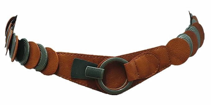 81d3c80e240714 Damen Stretchgürtel Leder Metall Rillen Kreis Taillengürtel Hüftgürtel SA-1592  (Braun)