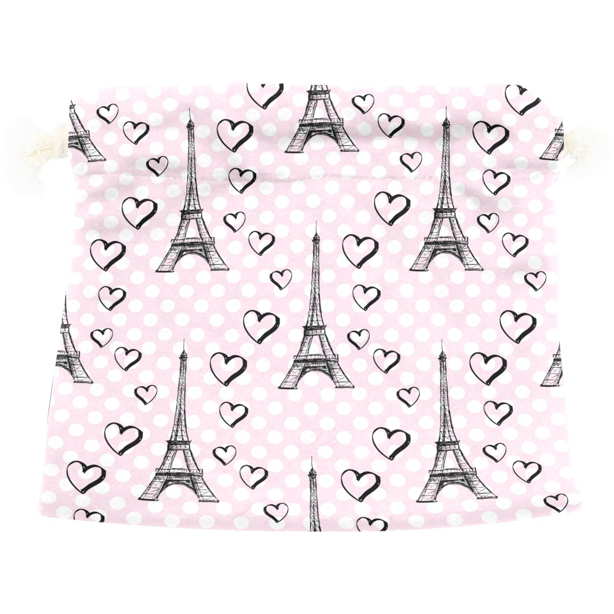Dragon Sword Paris Eiffel Tower With Hearts Gift Bags Jewelry Drawstring Pouches for Wedding Party, 6x8 Inch