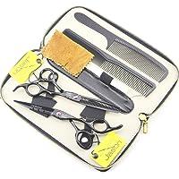 JASON Professional Black Hair Cutting Scissors Shears Barber Thinning Set Kit with Leather Case Salon Hairdresser Hair…