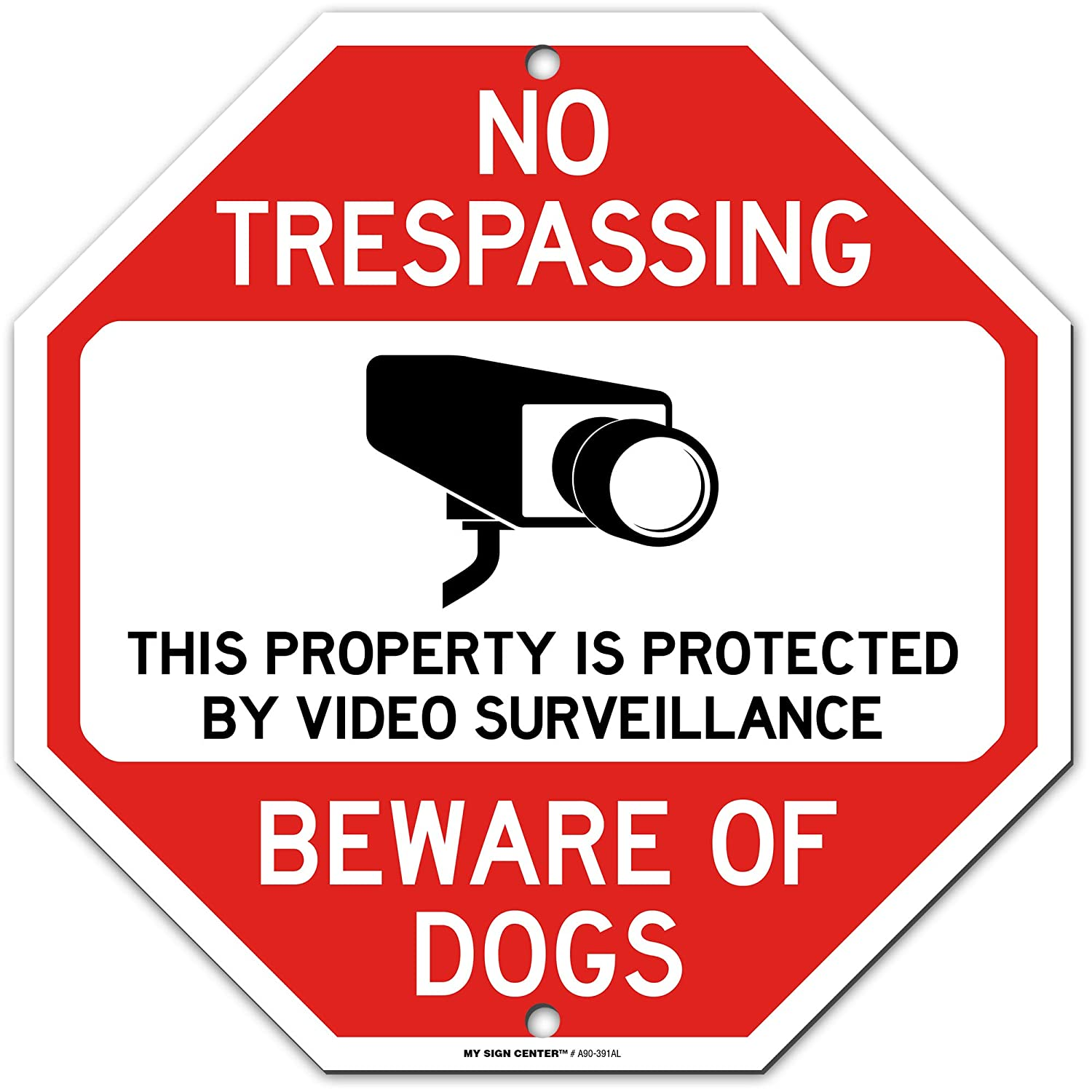 "Dog Warning No Trespassing Video Surveillance Sign, Octagon Shaped, 11"" x 11"" Industrial Grade Aluminum, Easy Mounting, Rust-Free/Fade Resistance, Indoor/Outdoor, USA Made by MY SIGN CENTER"