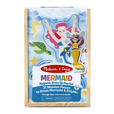 Melissa & Doug Mermaid & Dolphin Magnetic Dress-Up Wooden Dolls Pretend Play Set (35 pcs): Toys & Games