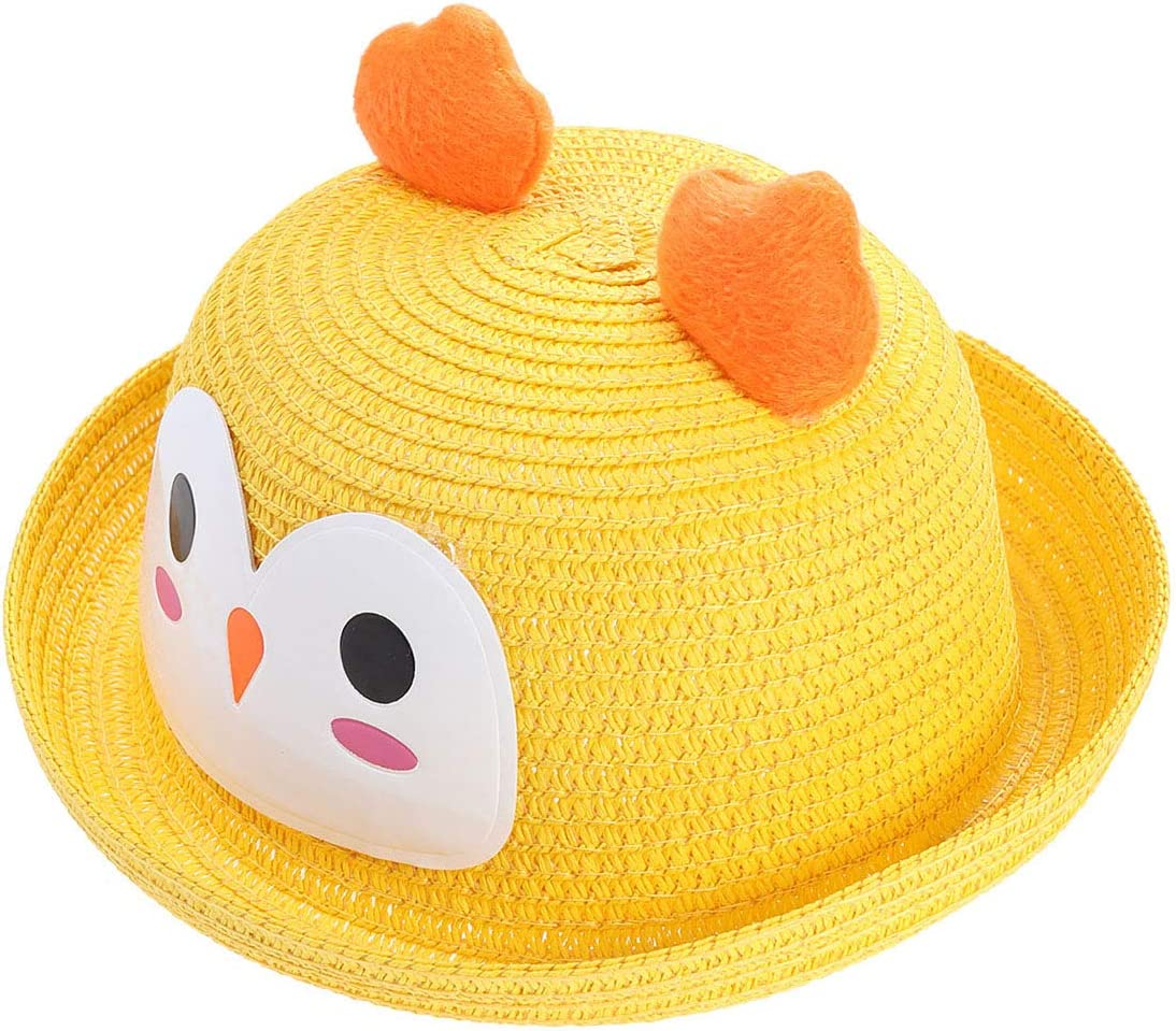 TENDYCOCO Kids Summer Animal Hats Beach hat Cartoon Chicken Cap Straw hat Cute Animal Sun hat Yellow