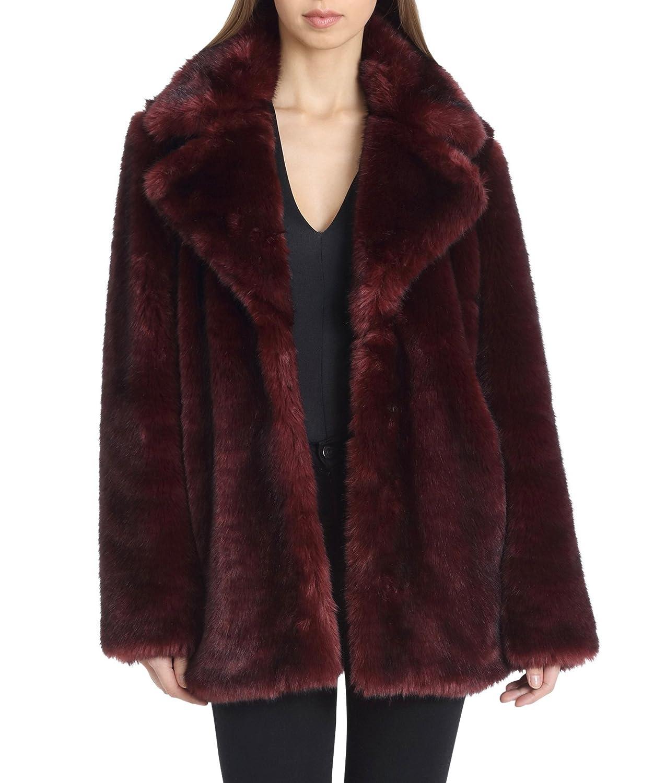 91f0ed81c690 Avec Les Filles Women's Faux Fur Mid Length Coat with Notch Collars at  Amazon Women's Coats Shop
