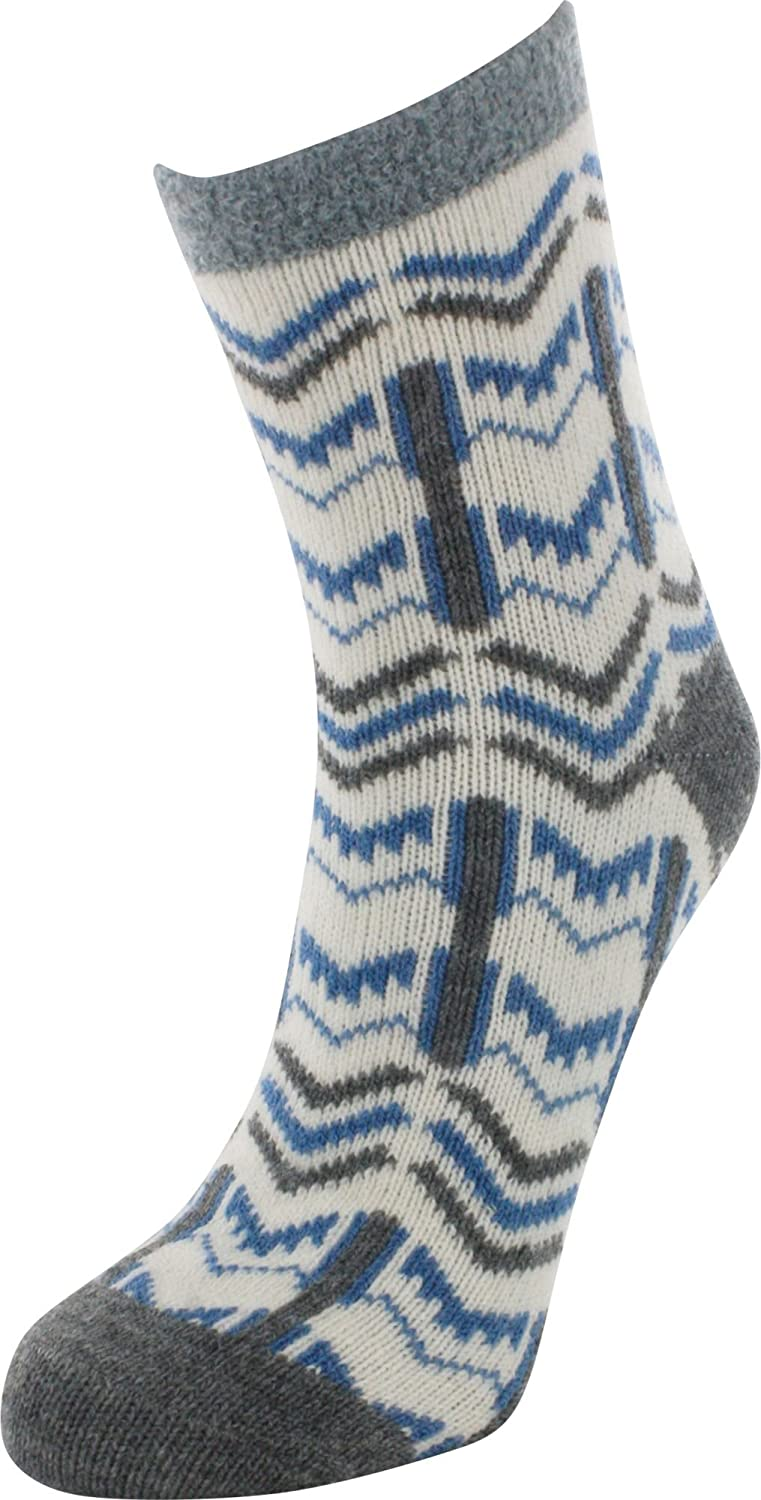 Field & Stream Cabin Socks Womens Cozy Fuzzy Warm Winter Socks (Blue White)