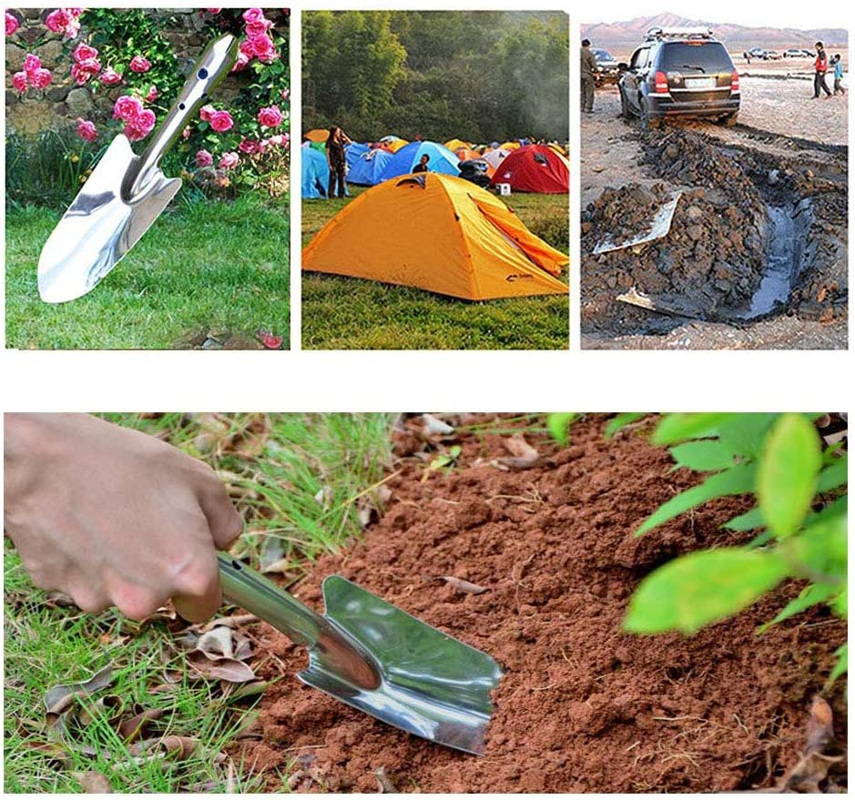 IETONE 2 Pieces Stainless Steel Gardening Shovel Trowel Mini Garden Hand Shovel for Planting Transplanting Camping Outdoors Supplies