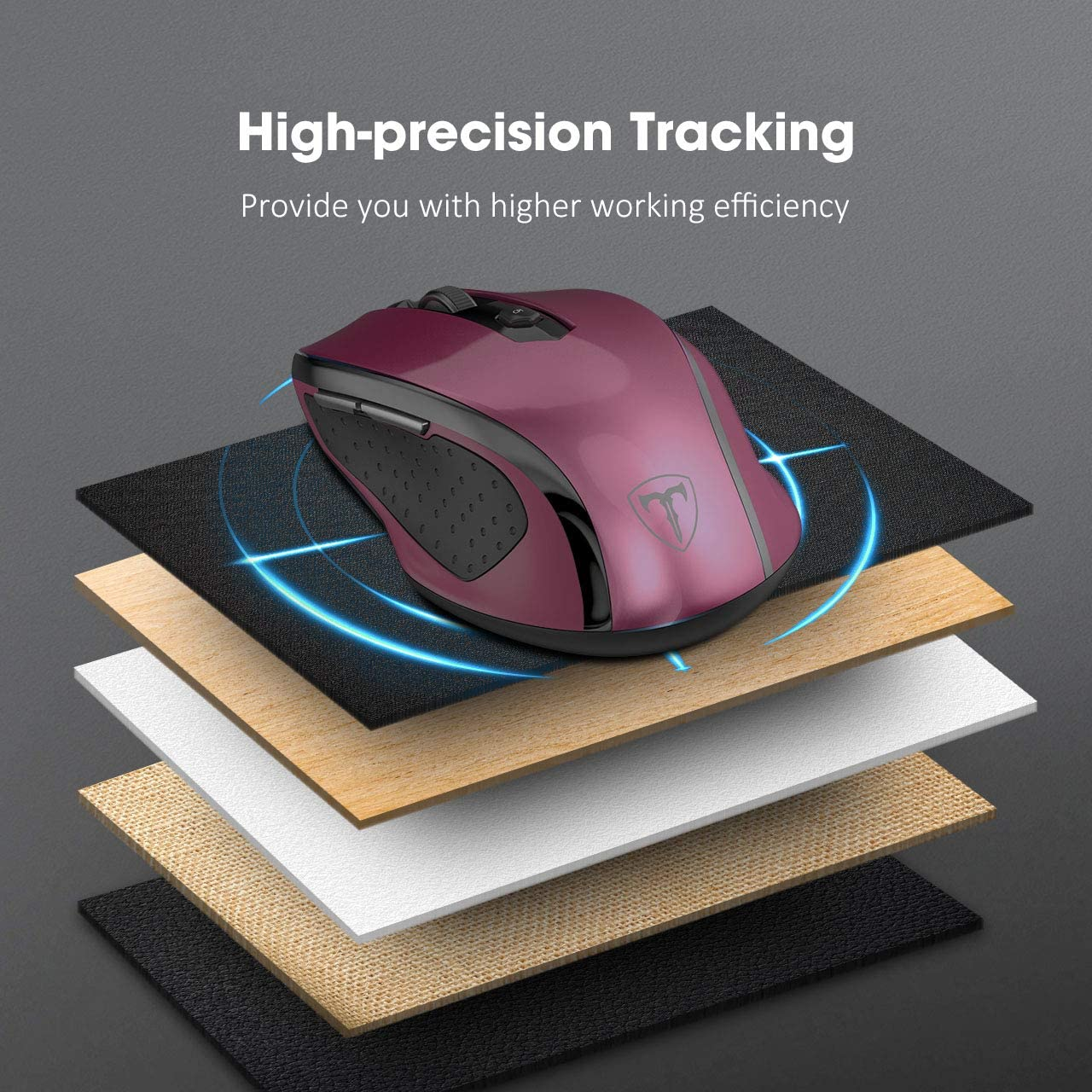 MacBook Computer Laptop PC 5 Adjustable DPI Levels Dark red 6 Buttons for Notebook VicTsing MM057 2.4G Wireless Portable Mobile Mouse Optical Mice with USB Receiver