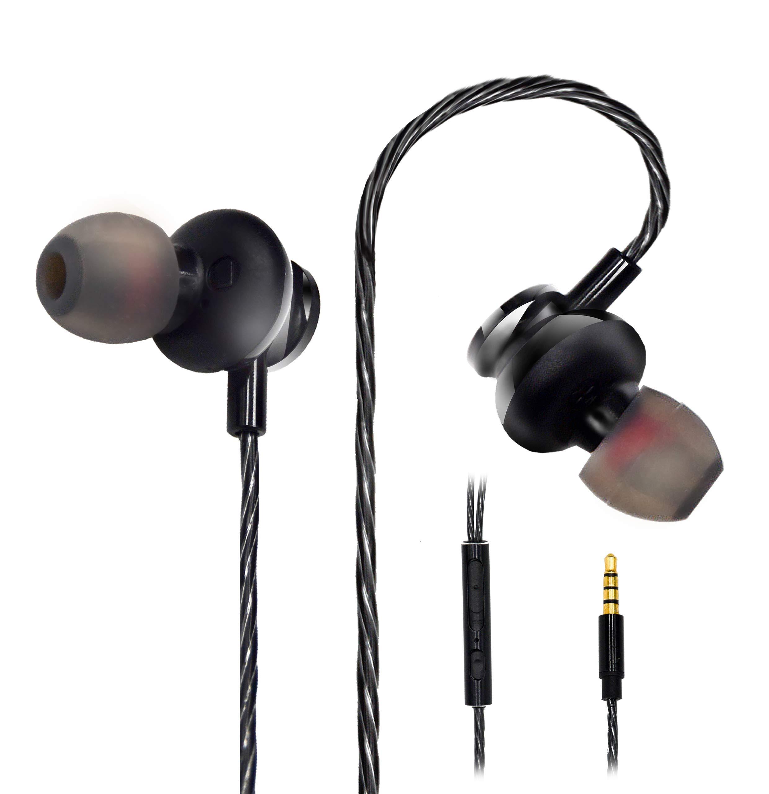 Headphones with Microphone Senhomtog Sport Headphones Noise Cancelling Earbud Headphones On-Ear Headphones Extra Bass – Waterproof Wired Earphones 3.5 mm Headphones with Volume Control Earbud Headset