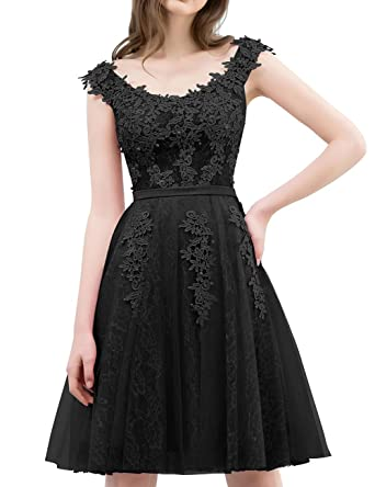 Cdress Short Homecoming Dresses Tulle Lace Appliques Cocktail Gowns Junior Prom Party Dress Black US 2
