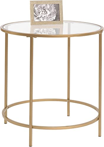 Sauder 417829 Int Lux Side Table Round, Glass Satin Gold Finish