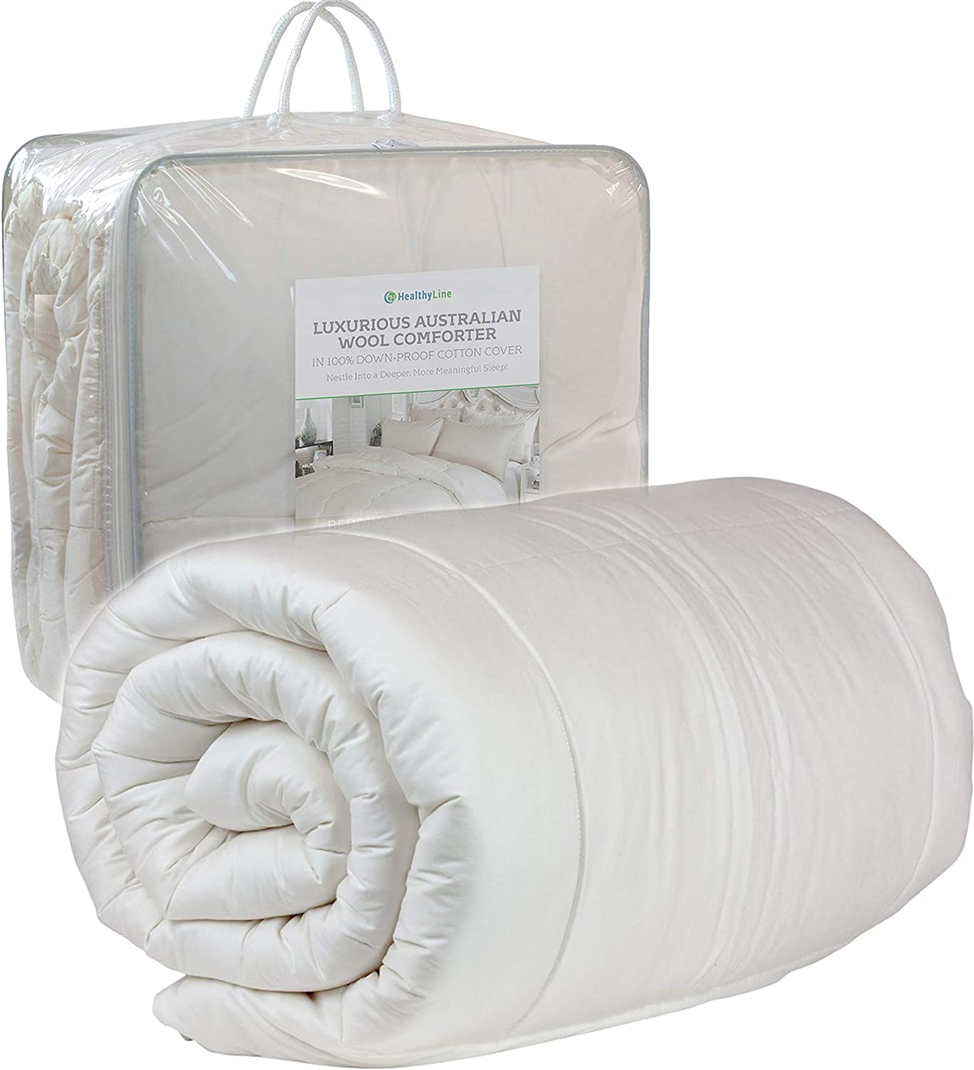 "HealthyLine Luxury Australian Wool Comforter - White Down Blanket - Cotton Shell 300 TC / 300 GSM - Queen Size / 89"" x 89"""