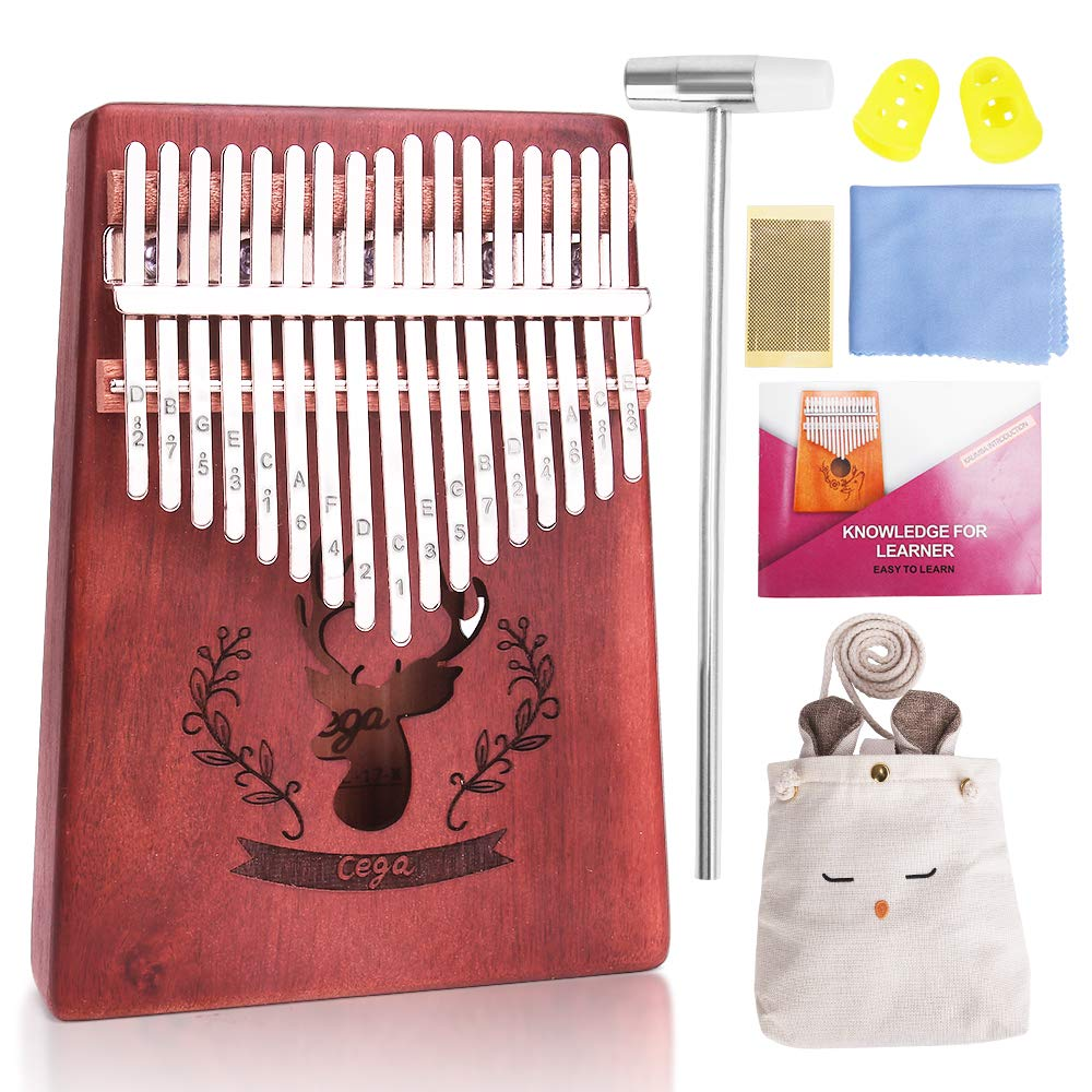 Kalimba 17 Keys Thumb Piano, Acacia KOA Thumb Instrument with Portable Bag, tuning hammer and study instruction for Music Fans Kids Adults (Wood color)