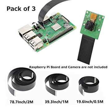 GeeekPi Raspberry Pi Camera Cable 15Pin Ribbon Flat Cable 1 0mm Pitch Flex  Cable 50cm/100cm/200m Raspberry Pi 3B+, 3B, 2B (Not Pi Zero)(Pack of 3)