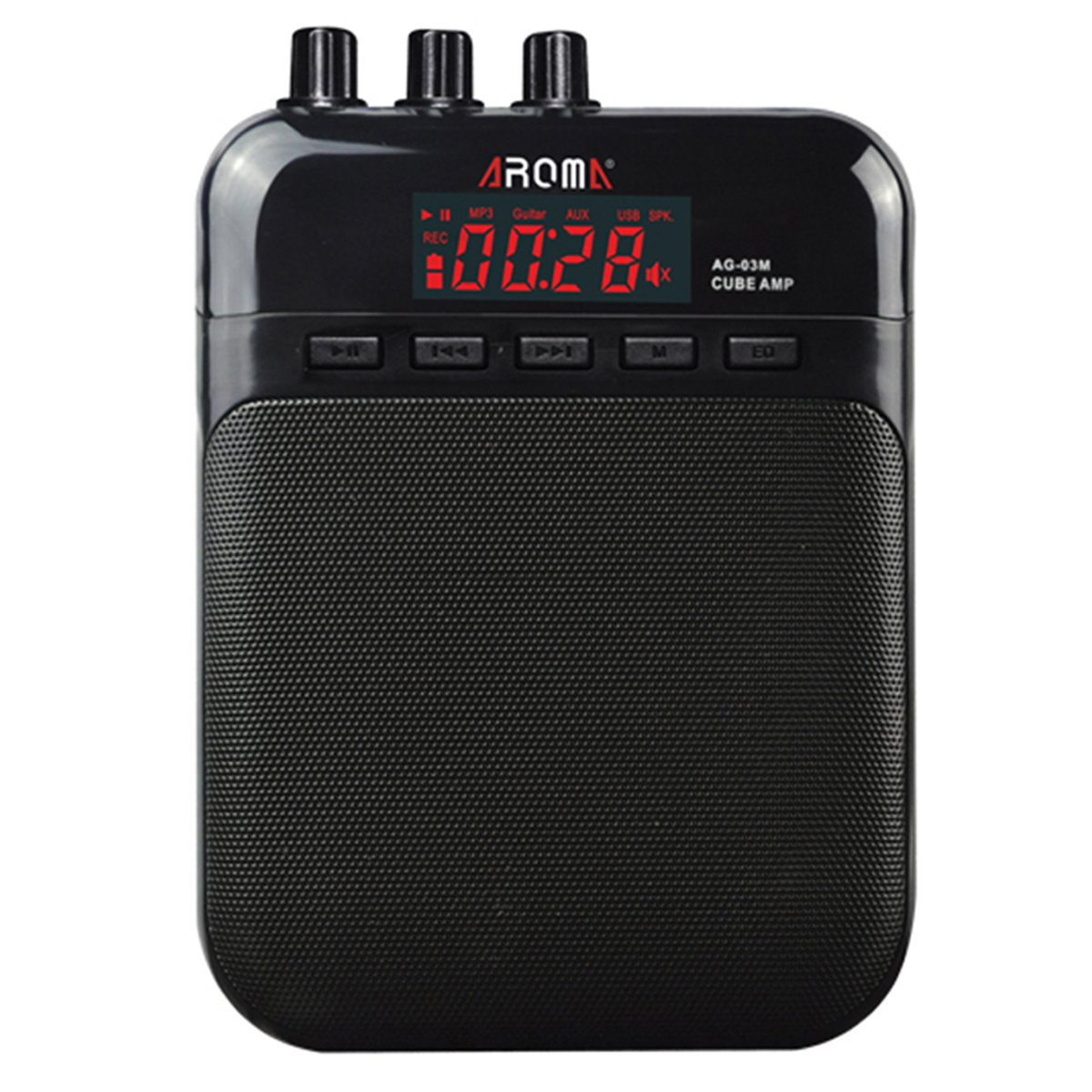 AROMA Mini Portable 5W Guitar Amp/Amplifier Recorder/Speaker with USB Cable to Recharge AG-03M