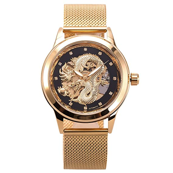 Reloj mecánico esquelético automático para hombre - ManChDa Mesh Band Reloj informativo analógico de acero inoxidable informal para hombre Negro: Amazon.es: ...