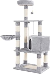 SONGMICS Cat Tree Condo Tower with Scratching Posts Kitten Furniture Play House