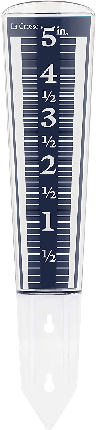 La Crosse 704-1531 Large Magnifying Easy Read 5-Inch Capacity Acrylic Rain Gauge, Black-Blue