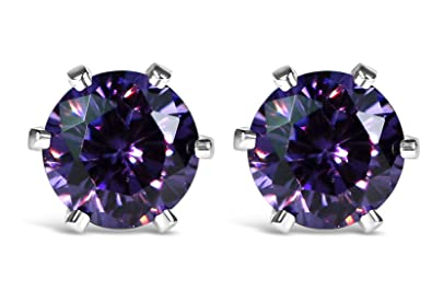 Isabella Silver 925 Solid Sterling Silver Stud Earrings made with 5mm Cubic Zirconia Gem Stones dlHsM1