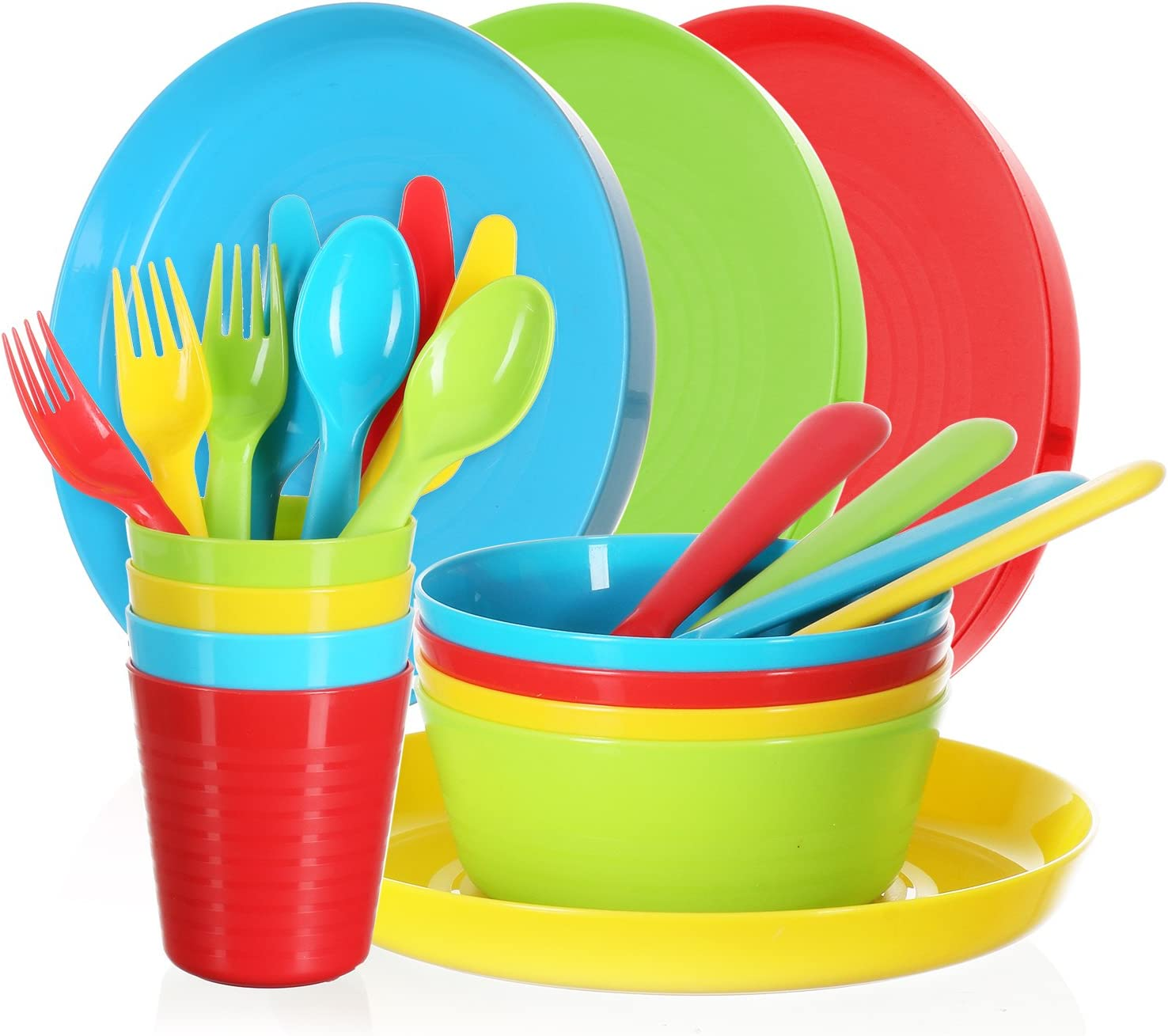 Dishwasher Safe and Microwaveable Cuddly Hippo Kids Plastic Dinnerware Set of 18 Multi Color Flatware BPA-Free - Reusable Spoons, Forks and Knives